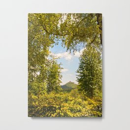 Trifels castle framed by green trees Metal Print