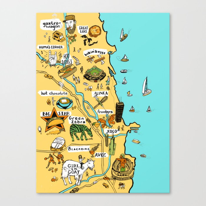 Chicago Map Canvas.Chicago Food Map Canvas Print By Vidhyanagarajan Society6