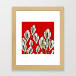 Calla Lilies on Red Framed Art Print