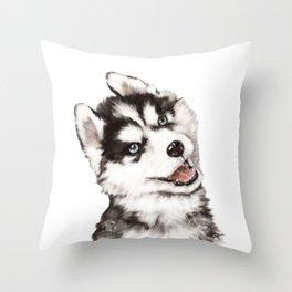 Baby Husky Throw Pillow