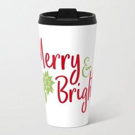 Merry and Bright - Christmas Typography Travel Mug