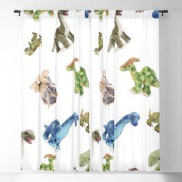 Dinosaur Blue Gree Brown Pattern Blackout Curtain