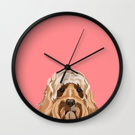 Labradoodle portrait blush dog portrait cute art gifts for dog breed lovers Wall Clock