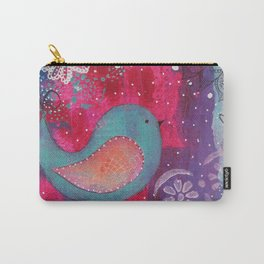 Whimsical Bird Mixed Media Carry-All Pouch