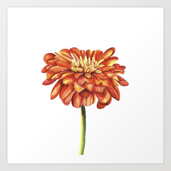 Red flower. Watercolor Art Print