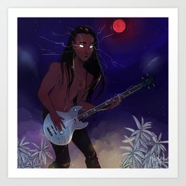 Blood Thunder Moon and booming music Art Print