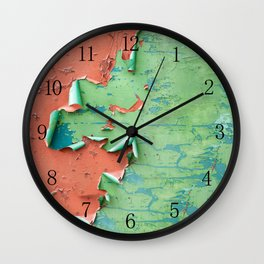 Green brown old cracked paint wall Wall Clock