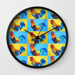 Rooster Collage with Happy Abstract Roosters Wall Clock