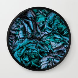 Great Garden Roses with silver dust,turquoise Wall Clock