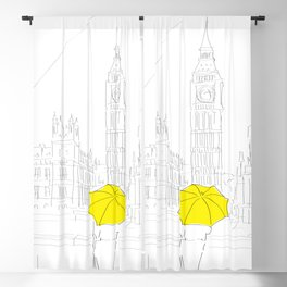 Yellow Umbrella Travel Girl on the River Thames, London Blackout Curtain