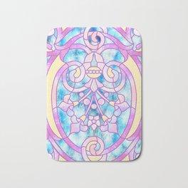 Art Nouveau Blue Pink and Yellow Batik Design Bath Mat