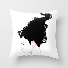 Curly Side Portrait Throw Pillow