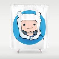 finn Shower Curtains featuring Finn by Shay Bromund