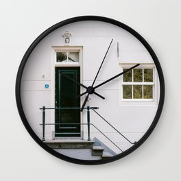 Cream colored house Amsterdam   Travel photography wall art Cityscape Architecture Calm White Wall Clock