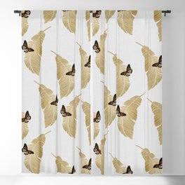Butterfly & Palm Leaf, Gold Wall Art Blackout Curtain