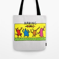 keith haring Tote Bags featuring Haring Time by le.duc