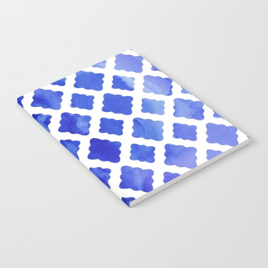 Watercolor Diamonds in Cobalt Blue Notebook
