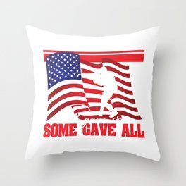 Some Gave All, All Gave Some Dog Tag T-shirt Design Wear This One To Show Your Support! Military Gun Throw Pillow