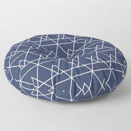 Pyramidal Geometric Minimalist Pattern in White and True Navy Blue Floor Pillow