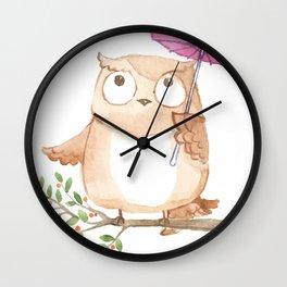 Cute Owl And Umbrella Wall Clock