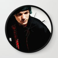 louis tomlinson Wall Clocks featuring Louis Tomlinson by Becca / But-Like-How