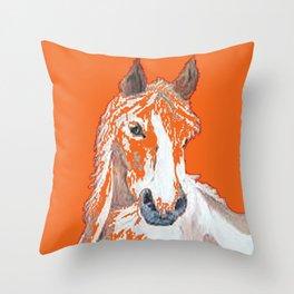 Pinto Buckskin Horse in Orange Throw Pillow