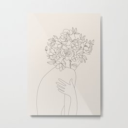 Woman with Flowers Minimal Line III Metal Print