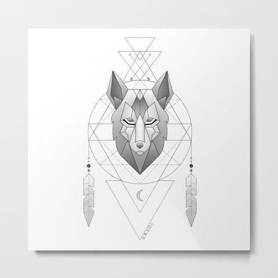 Geometric Wolf Dream Catcher Metal Print