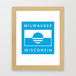 Milwaukee Wisconsin - Cyan - People's Flag of Milwaukee Framed Art Print