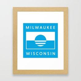 Milwaukee Wisconsin - Cyan - People's Flag of Milwaukee Framed Art Print