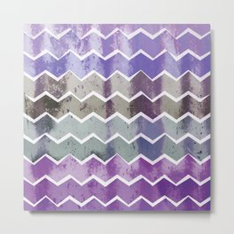 CHEVRON STRIPES - PURPLE Metal Print