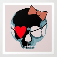 Blue skull with heart and bow Art Print
