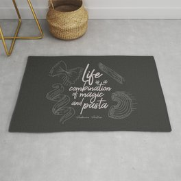 Federico Fellini on life, magic and pasta, inspirational quote, funny sentence, kitchen wall decor Rug
