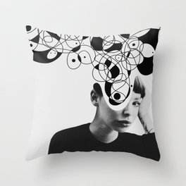 Abstraction - version 2. BW Throw Pillow