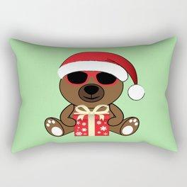 Cool Santa Bear with sunglasses and gift Rectangular Pillow