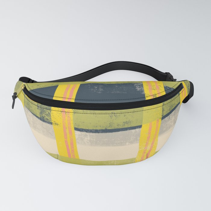 Yellow and Green Plaid Abstract Art Fanny Pack