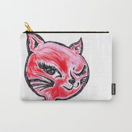 Winking Kitty Red Carry-All Pouch
