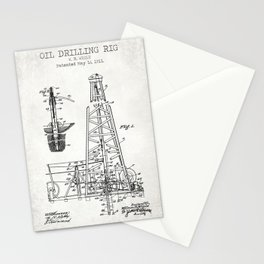 Oil Drilling Rig old patent Stationery Cards