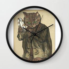 Tambourine Cat Wall Clock