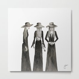 Southern Gothic Witch Coven Watercolor Metal Print