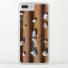 Pebbles on rust Clear iPhone Case