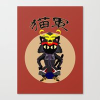army Canvas Prints featuring Cat Army by BATKEI (Keiko W)