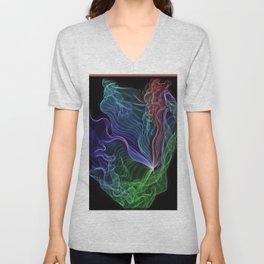 Pleated Rainbow Aurora String Theory Art #5 Unisex V-Neck