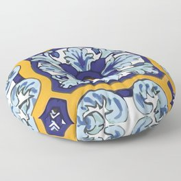Talavera Mexican tile inspired bold design in blues and yellows Floor Pillow