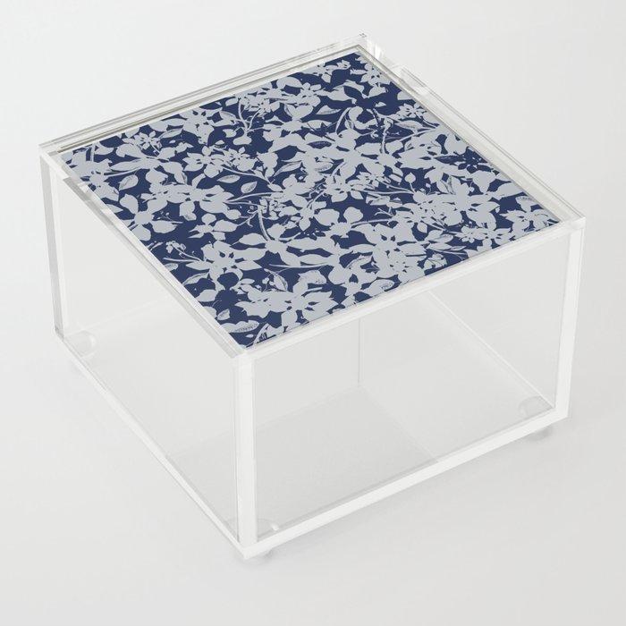 Blue and Grey Floral Pattern - Broken but Flourishing Acrylic Box