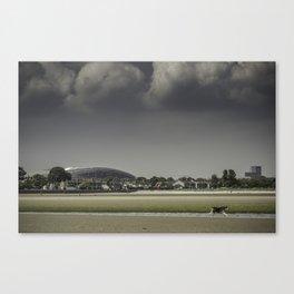 Aviva Stadium from the beach. Canvas Print