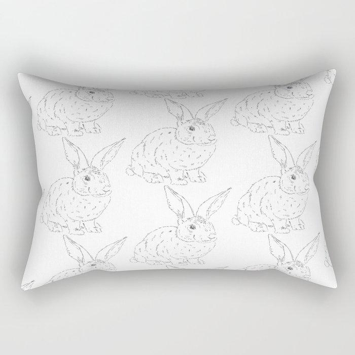 Bunny Rabbit Pattern Minimal Shabby Chic Girls Room Rectangular Pillow