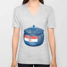 Flag of Croatia. Saucepan with a translucent cover. The symbol of the European Union. Unisex V-Neck