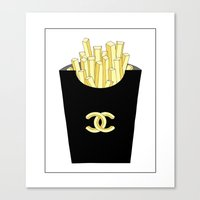 french fries Canvas Prints featuring French fries by flowerstyle