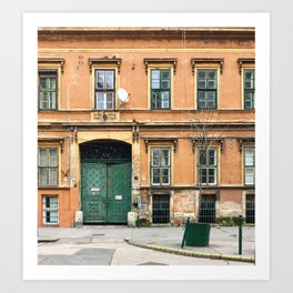 Orange and Green Budapest Facade Art Print